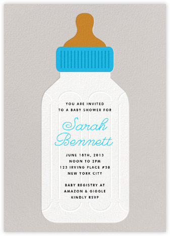Baby Bottle - Blue - The Indigo Bunting - Baby Shower Invitations