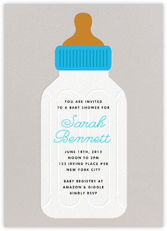 Baby Bottle - Blue - The Indigo Bunting - Baby shower invitations