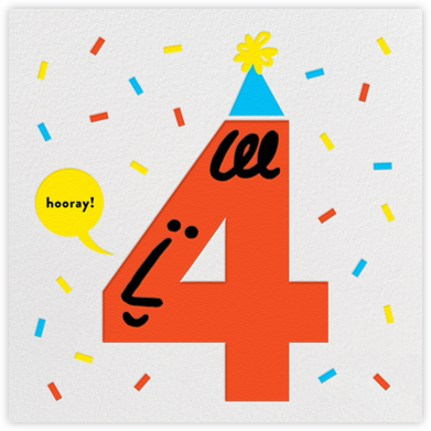 Birthday Faces (Four) - White - The Indigo Bunting - Online Kids' Birthday Invitations
