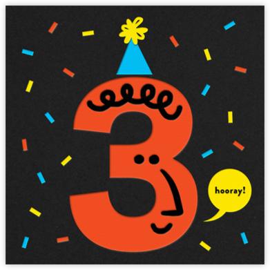 Birthday Faces (Three) - Black - The Indigo Bunting - First Birthday Invitations