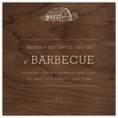 Wood Grain Dark - Square - Paperless Post - Summer entertaining invitations