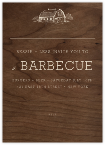 Wood Grain Dark - Tall - Paperless Post - Barbecue and picnic invitations