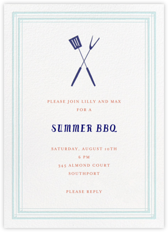 Flip The Burger - Blue - Mr. Boddington's Studio - Summer Party Invitations