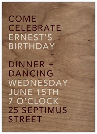 Wood Grain Light - Tall - Paperless Post - Adult Birthday Invitations