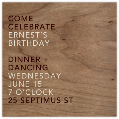 Wood Grain Light - Square - Paperless Post - Adult Birthday Invitations