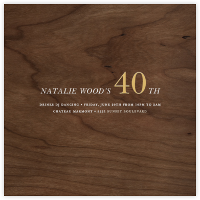Wood Grain Dark - Square - Paperless Post - Adult Birthday Invitations