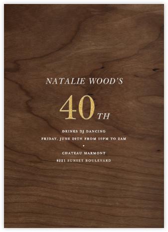 Wood Grain Dark - Tall - Paperless Post - Adult Birthday Invitations