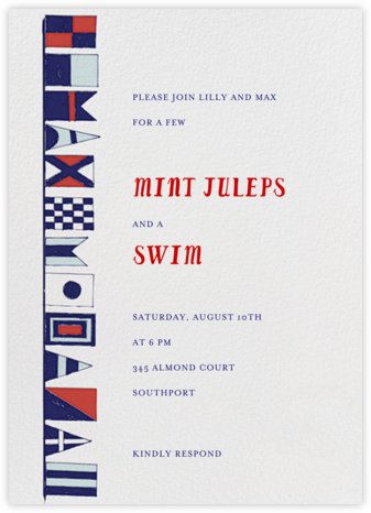 Prepare to Jibe - Primaries - Mr. Boddington's Studio - Pool Party Invitations