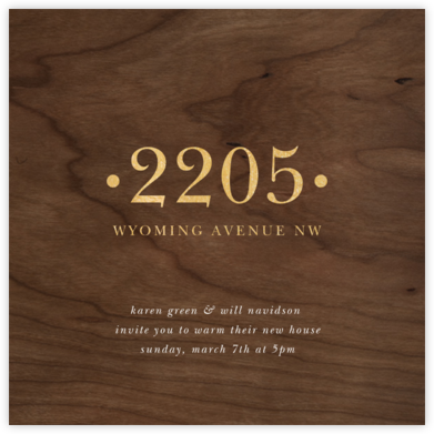 Wood Grain Dark (Square) - Paperless Post - Housewarming party invitations