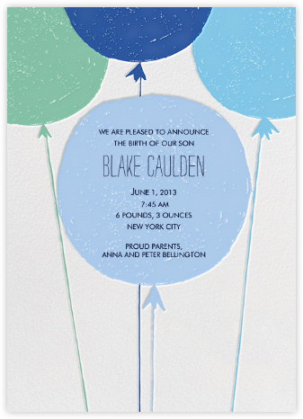 Floating with Love - Blue - Mr. Boddington's Studio - Birth Announcements
