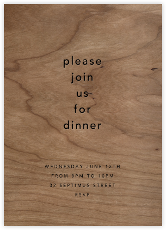Wood Grain Light (Tall) - Paperless Post - Dinner Party Invitations