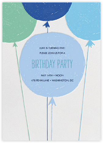 Floating with Love - Blue - Mr. Boddington's Studio - Kids' Birthday Invitations