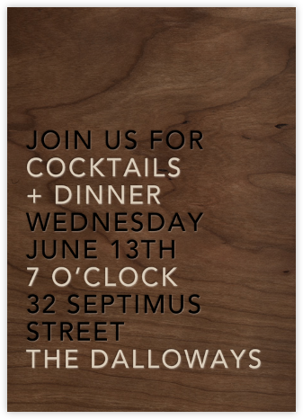 Wood Grain Dark - Tall - Paperless Post - Invitations