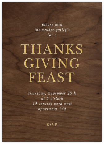 Wood Grain Dark - Tall - Paperless Post - Thanksgiving invitations