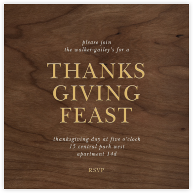 Wood Grain Dark - Square - Paperless Post - Thanksgiving invitations