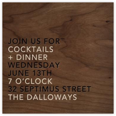 Wood Grain Dark (Square) - Paperless Post - Dinner party invitations