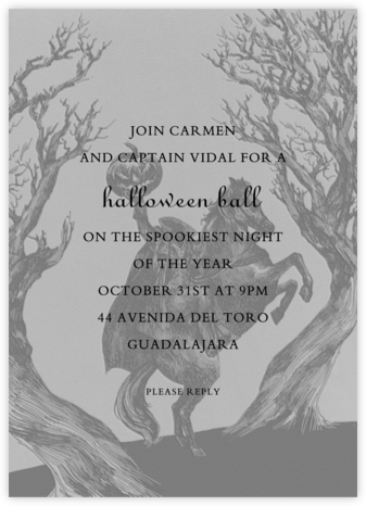 Headless Horseman - Paperless Post - Halloween invitations