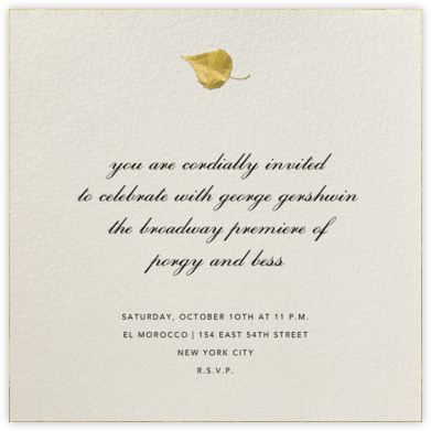 Gold Leaf - Cream - Paperless Post - Autumn entertaining invitations