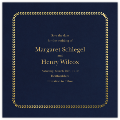 Leaf Inner Gold Bevel Border - Midnight (Square) - Paperless Post - Save the dates