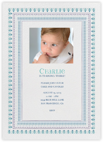 Pondi Cherry Nursery - Blues - Mr. Boddington's Studio - First Birthday Invitations