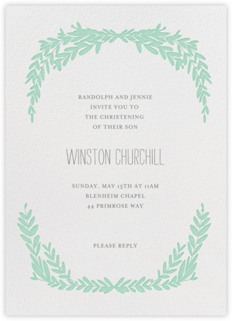 Laurel in Love - Sea Green - Mr. Boddington's Studio - Christening Invitations