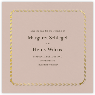 Leaf Inner Gold Bevel Border - Rose (Square) - Paperless Post - Wedding Invitations