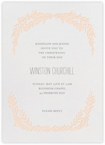 Laurel in Love - Peach - Mr. Boddington's Studio - Baptism invitations
