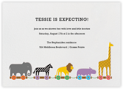 Animal Train - Paperless Post - Elephant Baby Shower Invitations