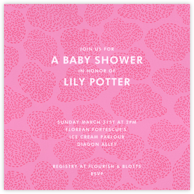 Stitched Clouds - Pinks - Paperless Post - Baby shower invitations