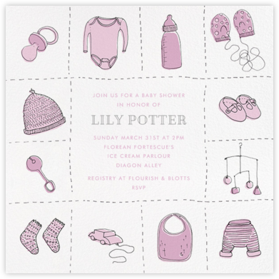 Wee Things - Pink - Paperless Post - Baby Shower Invitations