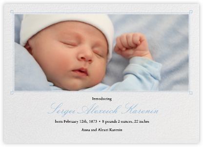 Squared Corner Frame - Light blue - Paperless Post - Birth Announcements
