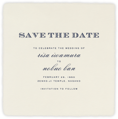Deckle - Cream Smooth Square - Paperless Post - Save the dates