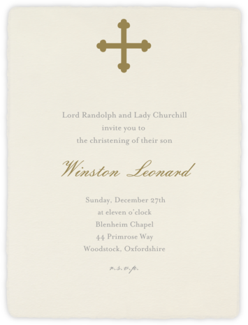 Deckle (Tall) - Cream - Paperless Post - Christening Invitations