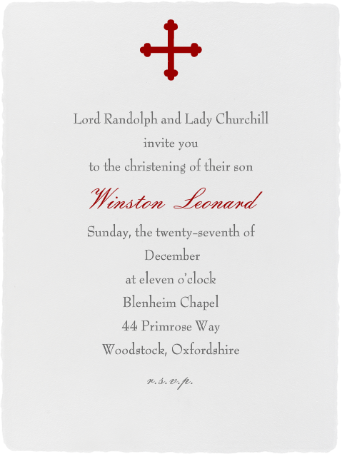 Deckle  - Ivory Tall - Paperless Post - Baptism invitations