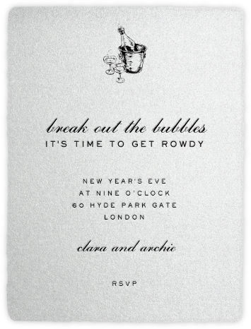 Deckle - Silver Tall - Paperless Post - New Year's Eve Invitations
