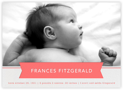 Ribbon Banner - Coral - Paperless Post - Birth Announcements