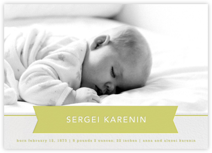 Ribbon Banner - Chartreuse - Paperless Post - Birth Announcements