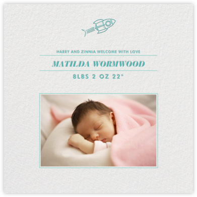 Square Centered - (Teal) - Paperless Post - Birth Announcements