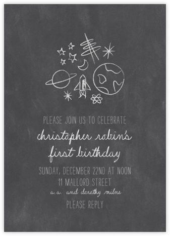 Space Bunch - Chalk - Paperless Post - First Birthday Invitations