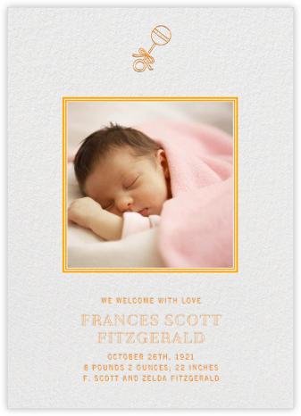 Square Frame - Vertical (Orange) - Paperless Post - Birth Announcements