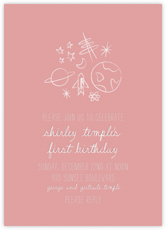 Space Bunch - Pink - Paperless Post - First Birthday Invitations