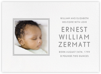 Square Frame - Horizontal (Gray) - Paperless Post - Birth Announcements