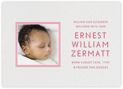 Square Frame - Horizontal (Red) - Paperless Post - Birth Announcements