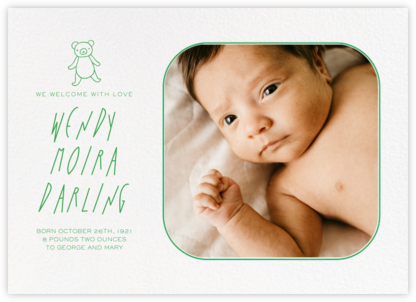 Rounded Corners - Emerald - Paperless Post - Birth Announcements