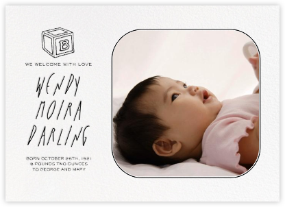 Rounded Corners - Black - Paperless Post - Birth Announcements