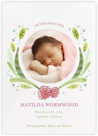 Floral Garland - Paperless Post - Birth announcements