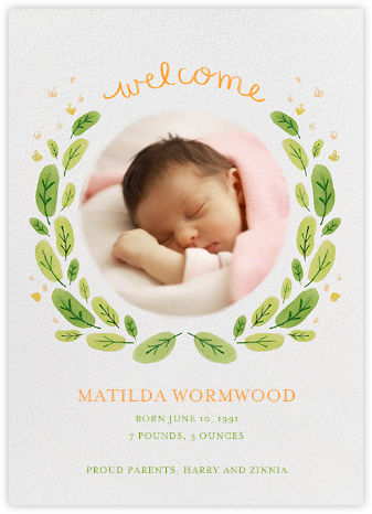 Leaf Garland - Paperless Post - Birth announcements