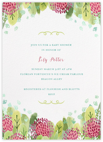 Floral Hedge - Paperless Post - Baby Shower Invitations