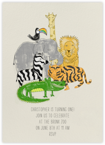 Safari Friends - Paperless Post - First Birthday Invitations