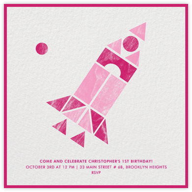 Spaceship - Pink - Paperless Post - First Birthday Invitations